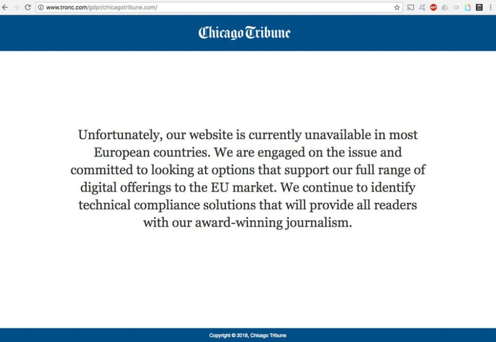 Chicago Tribune GDPR notice